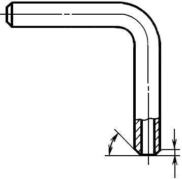 Черт.1. Нанесение на чертеже трубы размеров и обозначение шероховатости поверхностей