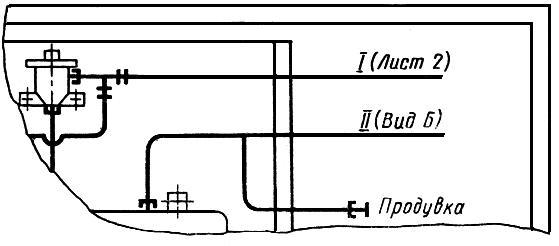 Условное изображение двух перекрещивающихся труб (трубопроводов)