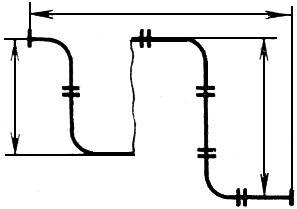 Условное смещение отдельных участков изображений труб (трубопроводов)